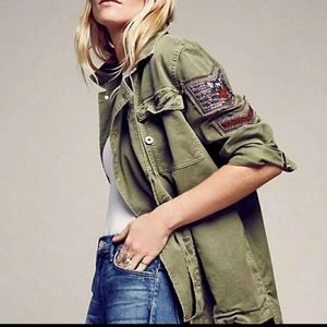 Free people military patch jacket